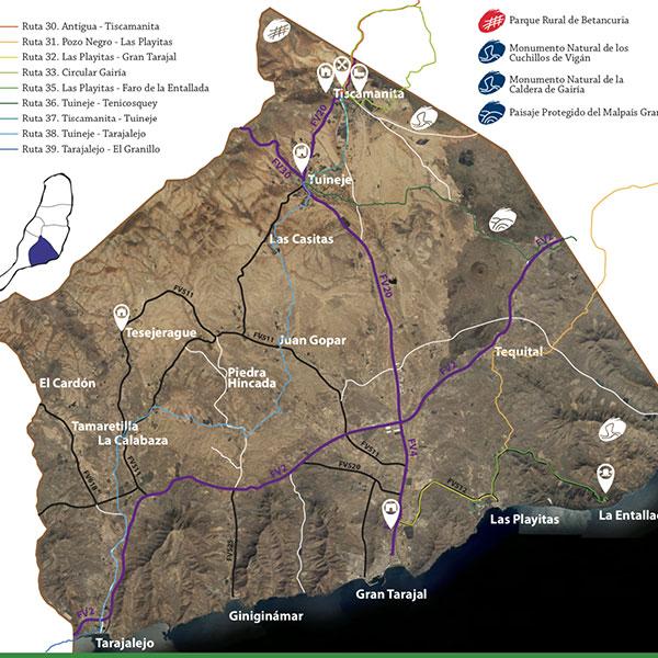 Mapa senderos rutas Tuineje
